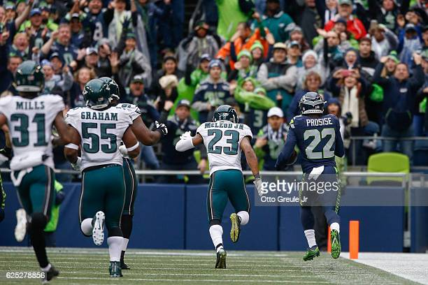 Running back CJ Prosise of the Seattle Seahawks rushes for a touchdown against the Philadelphia Eagles at CenturyLink Field on November 20 2016 in...