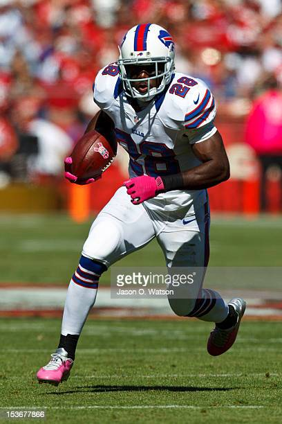 Running back CJ Spiller of the Buffalo Bills rushes up field against the San Francisco 49ers during the second quarter at Candlestick Park on October...