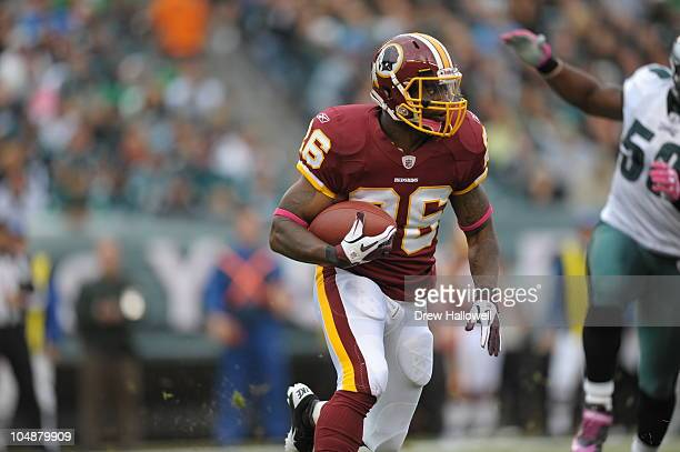Running back Clinton Portis of the Washington Redskins runs the ball during the game against the Philadelphia Eagles at Lincoln Financial Field on...