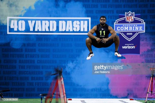 Running back Clyde EdwardsHelaire of LSU prepares to run the 40yard dash during the NFL Combine at Lucas Oil Stadium on February 28 2020 in...