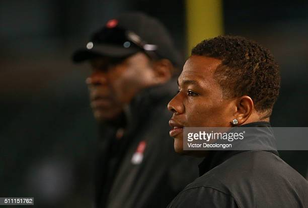 Running back coach Ray Rice of the National Team looks on from the sideline during the NFLPA Collegiate Bowl between the American Team and the...