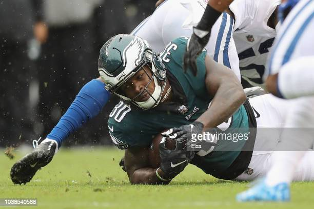 Running back Corey Clement of the Philadelphia Eagles carries for the first down in the first quarter against the Indianapolis Colts at Lincoln...