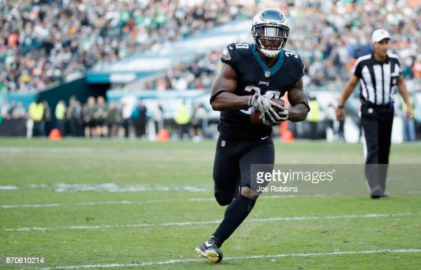 Running back Corey Clement of the Philadelphia Eagles runs in a touchdown against the Denver Broncos during the third quarter at Lincoln Financial...