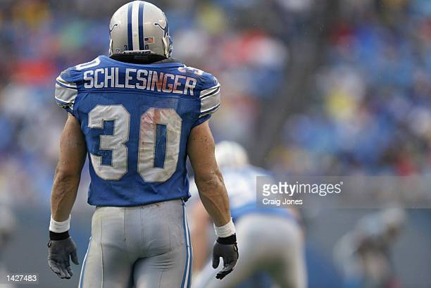 Running back Cory Schlesinger of the Detroit Lions stands on the field during the NFL game against the Carolina Panthers at Ericsson Stadium on...
