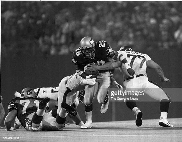 Running back Curt Warner of the Seattle Seahawks runs against the New York Jets on November 9 1987 at GIants Stadium in East Rutherford New Jersey...
