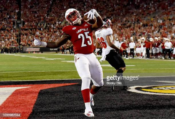 Running back Dae Williams of the Louisville Cardinals celebrates after scoring a touchdown during the fourth quarter of the game against the Western...