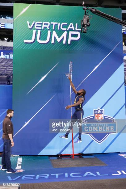 Running back Dalvin Cook of Florida State participates in the vertical jump during day three of the NFL Combine at Lucas Oil Stadium on March 3 2017...