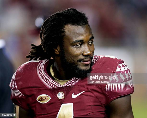 Running back Dalvin Cook of the Florida State Seminoles on the sidelines during the game against the Boston College Eagles at Doak Campbell Stadium...