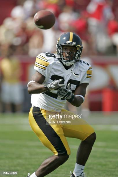 Running back Damian Sims of the Iowa Hawkeyes in pre game warmups before a game against the Iowa State Cyclones at Jack Trice Stadium in Ames Iowa on...