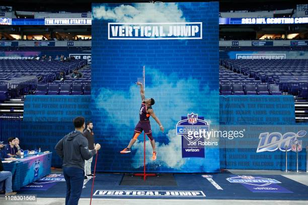 Running back Damien Harris of Alabama competes in the vertical jump during day two of the NFL Combine at Lucas Oil Stadium on March 1, 2019 in...
