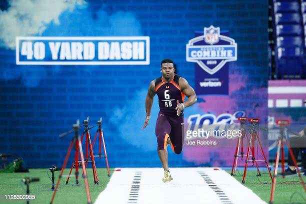 Running back Damien Harris of Alabama runs the 40yard dash during day two of the NFL Combine at Lucas Oil Stadium on March 1 2019 in Indianapolis...