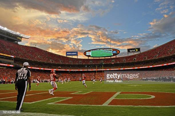 Running back Damien Williams of the Kansas City Chiefs returns a kickoff during the second half against the Houston Texans on August 9 2018 at...