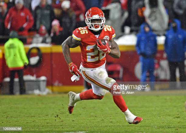 Running back Damien Williams of the Kansas City Chiefs rushes up field during the second half of the AFC Divisional Round playoff game against the...