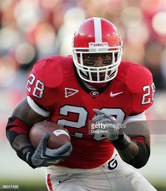 Running back Danny Ware of the Georgia Bulldogs looks for room to run against the Kentucky Wildcats at Sanford Stadium on November 19 2005 in Athens...