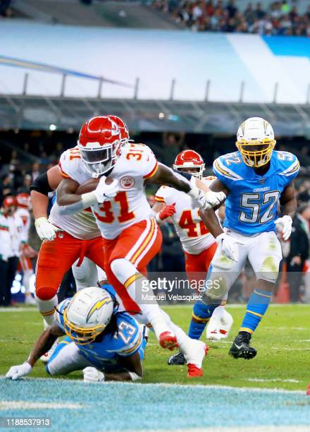 Running back Darrel Williams of the Kansas City Chiefs rushes for a touchdown over the Los Angeles Chargers in the third quarter of the game at...