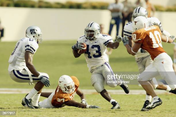 Running back Darren Sproles of the Kansas State Wildcats runs the ball against the Texas Longhorns at Texas Memorial Stadium on October 4 2003 in...