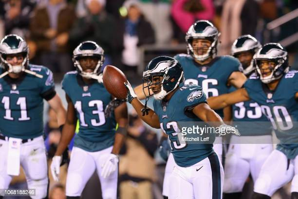 Running back Darren Sproles of the Philadelphia Eagles celebrates after scoring a touchdown against the Washington Redskins during the second quarter...
