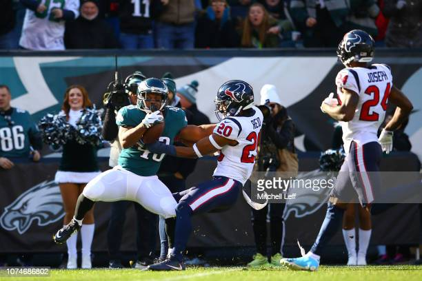 Running back Darren Sproles of the Philadelphia Eagles runs the ball for a touchdown against strong safety Justin Reid of the Houston Texans in the...