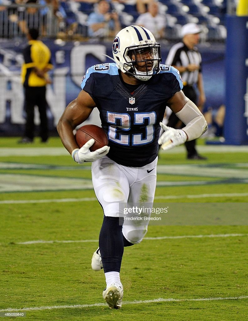 Running back David Cobb #23 of the Tennessee Titans rushes during the second half of a pre-season game against the St. Louis Rams at LP Field on August 23, 2015 in Nashville, Tennessee.