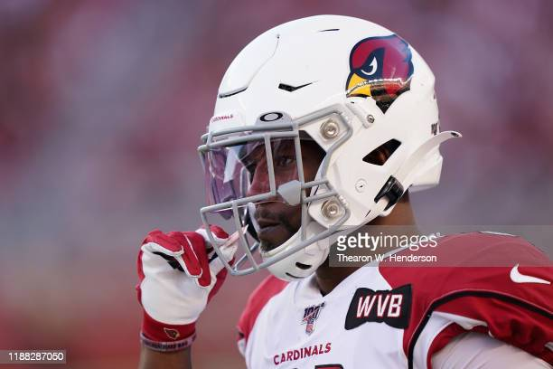Running back David Johnson of the Arizona Cardinals stands on the sidelines during the second half of the NFL game against the San Francisco 49ers at...