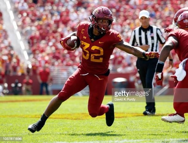 Running back David Montgomery of the Iowa State Cyclones rushes for yards in the second half of play at Jack Trice Stadium on September 15 2018 in...
