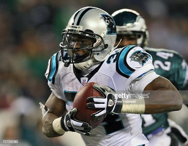 Running back DeAngelo Williams of the Carolina Panthers runs for a touchdown during Monday Night Football against the Philadelphia Eagles December 4...