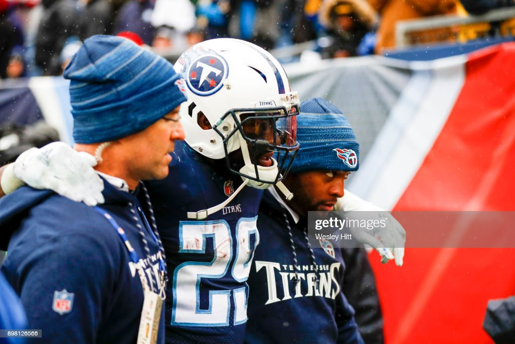 Running Back DeMarco Murray #29 of the Tennessee Titans is helped off the field during a game against the Los Angeles Rams at Nissan Stadium on December 24, 2017 in Nashville, Tennessee.