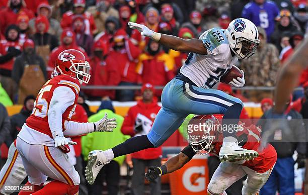 Running back DeMarco Murray of the Tennessee Titans leaps over a the Kansas City Chiefs defender during the second half on December 18 2016 at...