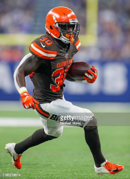 Running back D'Ernest Johnson of the Cleveland Browns runs the ball during the game against the Indianapolis Colts at Lucas Oil Stadium on August 17...