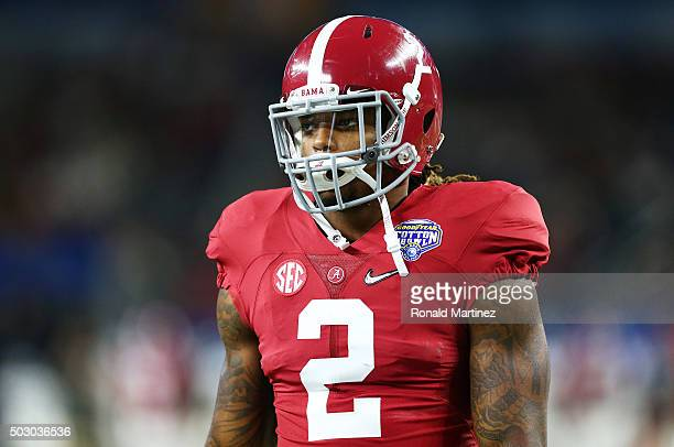 Running back Derrick Henry of the Alabama Crimson Tide looks on before taking on the Michigan State Spartans in the Goodyear Cotton Bowl at ATT...