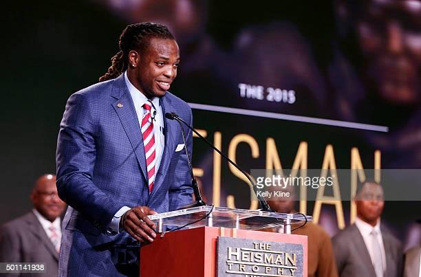 Running back Derrick Henry of the Alabama Crimson Tide speaks after being named the 81st Heisman Memorial Trophy Award winner during the 2015 Heisman...
