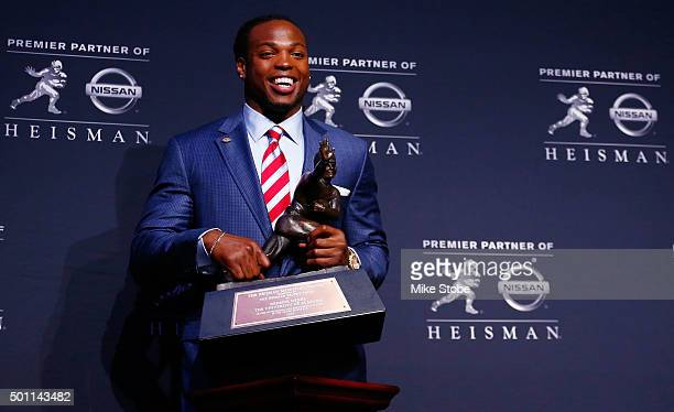 Running back Derrick Henry of the Alabama Crimson Tide speaks during a press conference after being named the 81st Heisman Memorial Trophy Award...