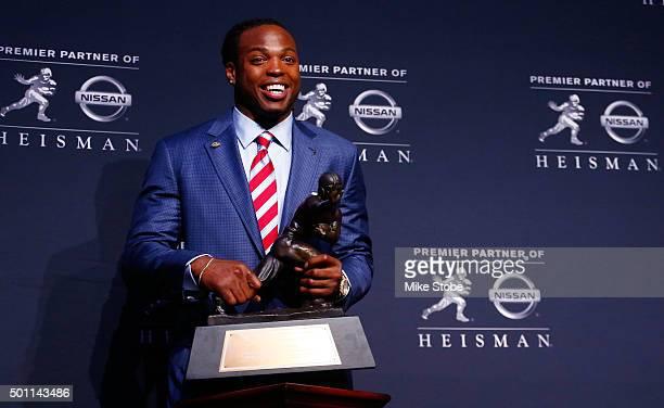 Running back Derrick Henry of the Alabama Crimson Tide speaks during a press conference after being named the 81st Heisman Memorial Trophy Award...
