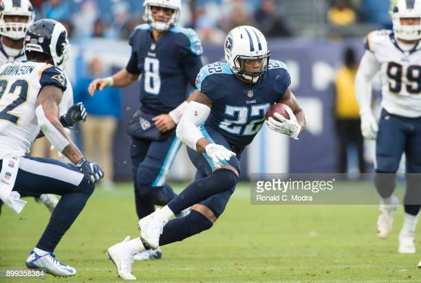 Running back Derrick Henry of the Tennessee Titans carries the ball during a NFL game against the Los Angeles Rams at Nissan Stadium on December 24...