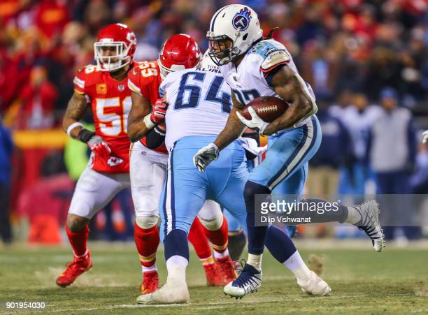 Running back Derrick Henry of the Tennessee Titans makes a jump cut during the third quarter of the AFC Wild Card Playoff Game against the Kansas...