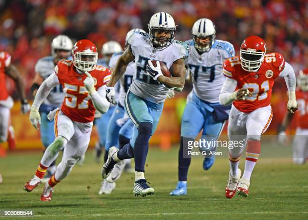 Running back Derrick Henry of the Tennessee Titans runs up field for a touchdown during the second half of the game against the Kansas City Chiefs at...