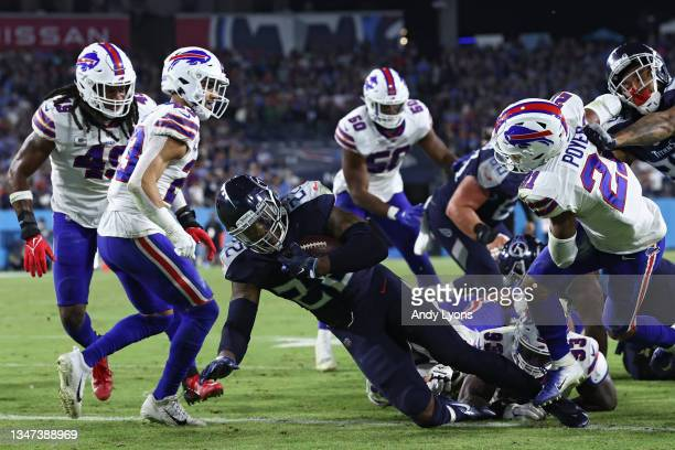 Running back Derrick Henry of the Tennessee Titans scores a touchdown against the Buffalo Bills during the third quarter at Nissan Stadium on October...