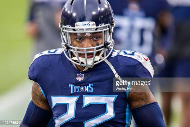 Running back Derrick Henry of the Tennessee Titans warms up before a game against the Detroit Lions at Nissan Stadium on December 20, 2020 in...