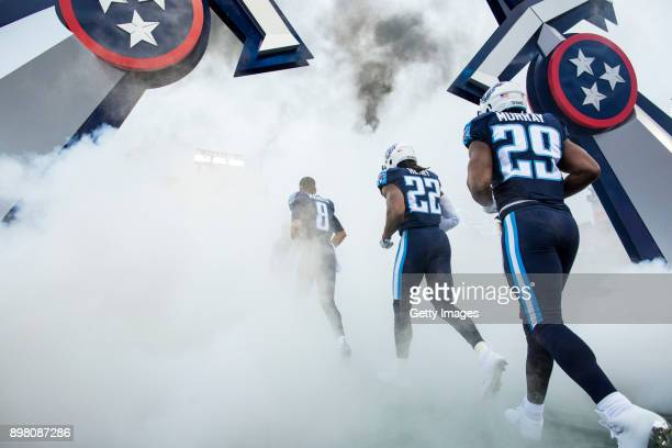 Running Back Derrick Henry Quarterback Marcus Mariota and Running Back DeMarco Murray of the Tennessee Titans take the field before a game against...