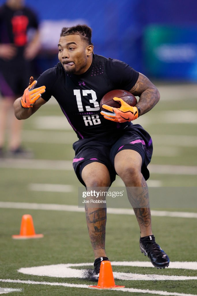 LSU running back Derrius Guice in action during the 2018 NFL Combine at Lucas Oil Stadium on March 2, 2018 in Indianapolis, Indiana.
