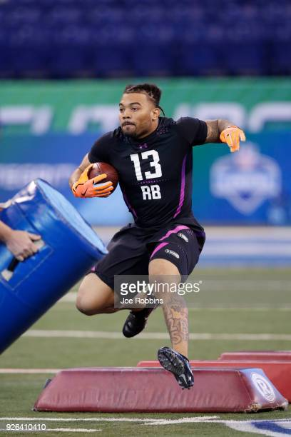 LSU running back Derrius Guice in action during the 2018 NFL Combine at Lucas Oil Stadium on March 2 2018 in Indianapolis Indiana