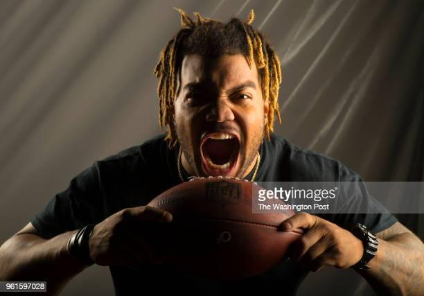 Running back Derrius Guice is a 2nd round draft pick in the 2018 NFL draft for the Washington Redskins. Photographed at Redskins Park in Ashburn VA...
