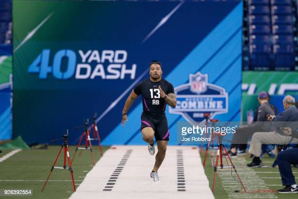 LSU running back Derrius Guice runs the 40yard dash during the 2018 NFL Combine at Lucas Oil Stadium on March 2 2018 in Indianapolis Indiana