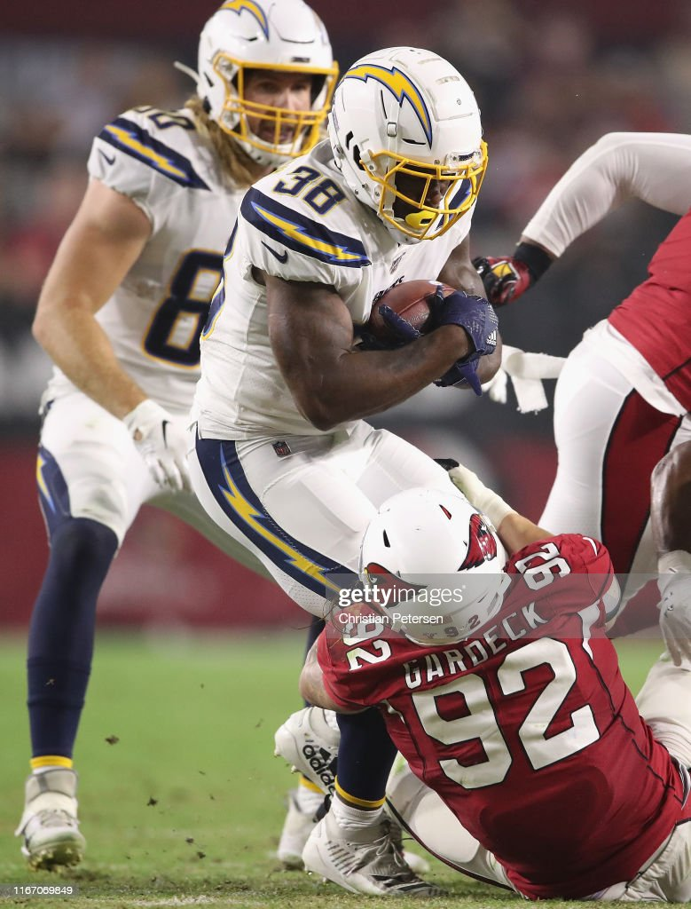 detailed look 39fd6 b0f0c Running back Detrez Newsome of the Los Angeles Chargers ...