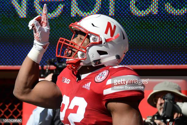 Running back Devine Ozigbo of the Nebraska Cornhuskers celebrates a score in the first half against the Minnesota Golden Gophers at Memorial Stadium...