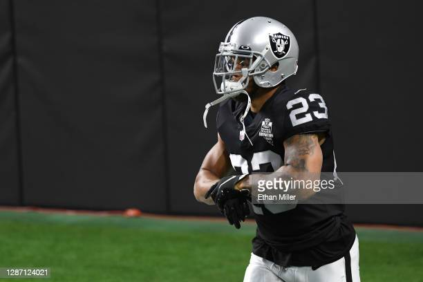 Running back Devontae Booker of the Las Vegas Raiders warms up prior to a game against the Kansas City Chiefs at Allegiant Stadium on November 22,...