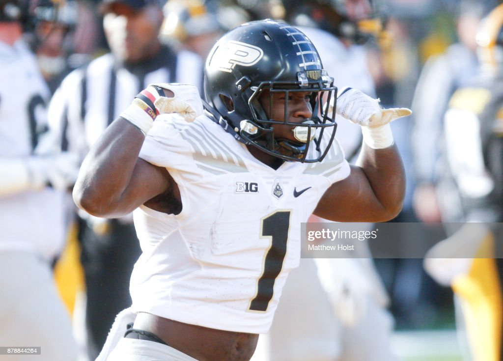 Running back D.J. Knox #1 of the Purdue Boilermakers celebrates a touchdown pass in the first quarter against the Iowa Hawkeyes, on November 18, 2017 at Kinnick Stadium in Iowa City, Iowa.