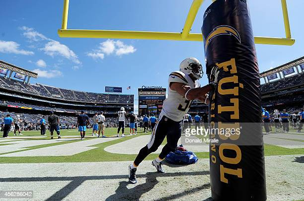 Running back Donald Brown of San Diego Chargers warms up before an NFL game against the Jacksonville Jaguars at Qualcomm Stadium on September 28 2014...