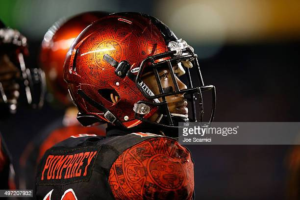 Running back Donnel Pumphrey of the San Diego State Aztecs looks at the screen in the third quarter against the Wyoming Cowboys at Qualcomm Stadium...