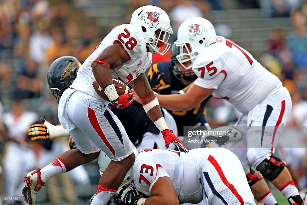 Running back Dontel James #28 of the Fresno State Bulldogs runs the ball during the third quarter against Toledo Rockets at Glass Bowl on September 17, 2016 in Toledo, Ohio.